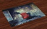 ABAKUHAUS Antiguo Salvamantel Set de 4 Unidades, Butaca Vieja Sucia Casa, Anti deslizable Lavable Decoración Comedor y Cocina, Pálida Negro Rojo Verde