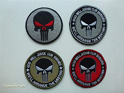 Aston Morale Patches bestickte Haken & Loop Patch Punisher Skull Special Force US Armymolle Patches Biker: B Grau