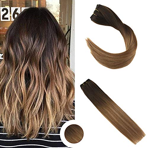 "Ugeat 16"" #2/6/12 Balayage Brun Remy Echthaar Extensions Clip in 100% Naturlich One Piece Clip in Dip Dye Hair Extensions mit 5 Clips 50g"