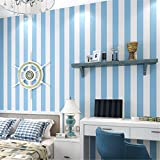 Pmrioe Moderne Wohnzimmer Schlafzimmer Wanddekoration Tapete Für Kinderzimmer Pvc Aufkleber Rosa Blau Weiß Gestreiften Tapeten, C.