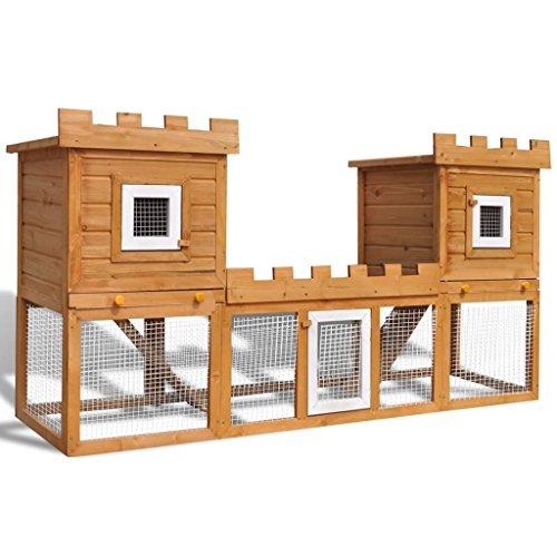 Festnight- gabbia due casette per conigli da esterno grande