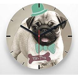 Reloj de pared 30 cm con ilustración carlino con pajarita
