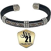Handmade Black Leather Magnetic Bracelet for Arthritis Relief - Tri-Tone Plating, 2 Magnets, Adjustable Bangle... preisvergleich bei billige-tabletten.eu