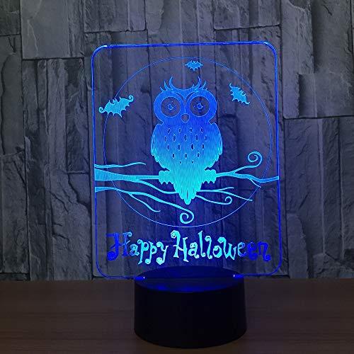 Happy Halloween Owl 3d Night Lamp 7 colori Visual Night Night Lights per bambini Touch Usb Lampada da tavolo Baby Sleeping Nightlight