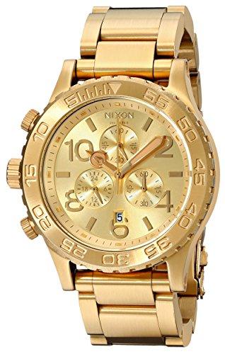 Nixon 42-20 Chrono A037502-00 – Reloj cronógrafo de cuarzo unisex, correa de acero inoxidable chapado color dorado (cronómetro)