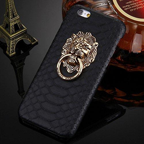 Phone case & Hülle Für iPhone 6 Plus / 6s Plus, Snakeskin Texture Paste Skin PC Schutzhülle mit Löwenkopf Halter ( Color : Gold ) Black