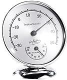 infactory Feuchtigkeitsmesser: Analoges Thermometer mit Hygrometer, 10 cm (Außenthermometer Analog)