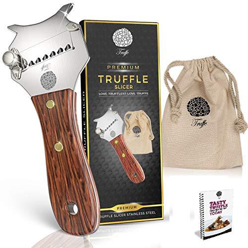 5 grömaße Trüffelhobel & Schokolade Rasierer mit Chic Stoff Tasche + Rezept E-Book. Trim die Heute Trüffel. Auch Rasuren Käse, Knoblauch, Pilzen & Gemüse. Premium Edelstahl & Verstellbarer Klinge