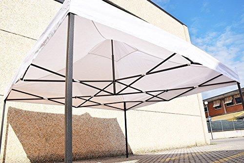 Cenador rápido plegable 3x 3m. plegable a acordeón, para mercados. Con laterales., BIANCO