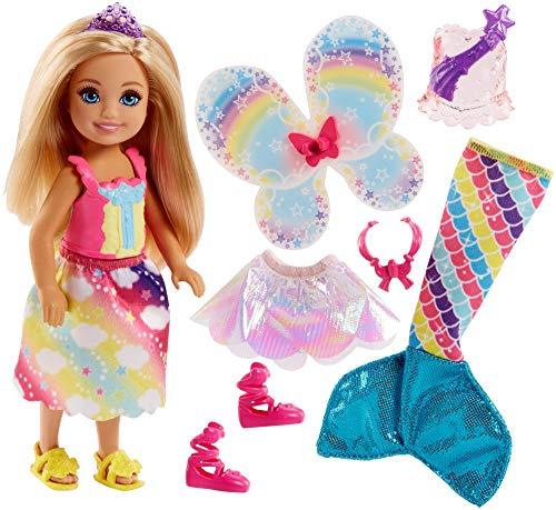 Barbie chelsea moda da favola con una bambolina e 3 look da principessa, fatina e sirena, multicolore, fjd00, modelli/colori assortiti, 1 pezzo