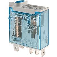 Finder 466190240040 - Mini-relé industrial 1 contacto 16 A - CC - 24 V con pulsador de prueba e indicador mecánico29 x 13 x 33 cm conexión Faston 187 (48 x 05 mm) AgNi transparente color azul