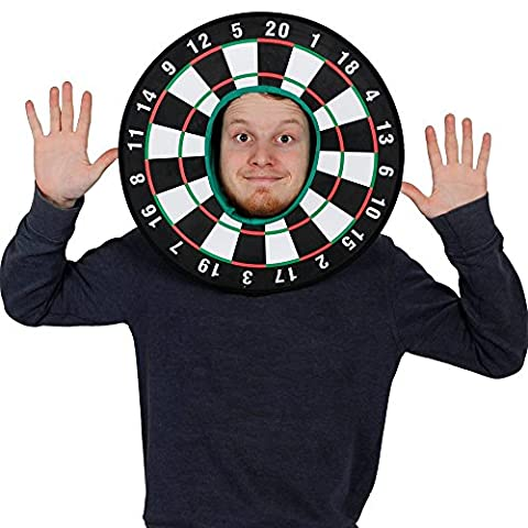 DART BOARD FANCY DRESS HAT UNISEX DARTBOARD NOVELTY SPORTS ACCESSORY WITH ATTACHED HOOD PERFECT FOR STAG NIGHTS, PUB CRAWLS + SPORTING EVENTS - PACK OF