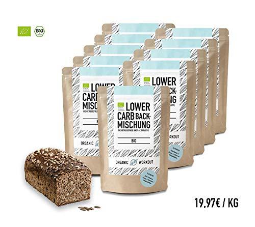 Organic Workout LOWER-CARB-BACKMISCHUNG 10er Pack - Bio | paleo | glutenfrei | eiweissbrot-alternative | ballaststoffreich | ohne Zuckerzusatz | ohne Getreide | hergestellt in Deutschland (Honig Bäcker)