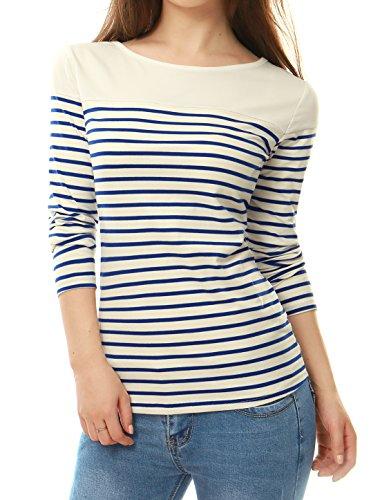 Allegra K Femme Classique à Rayures Manches Longues Extensible T-Shirt blue