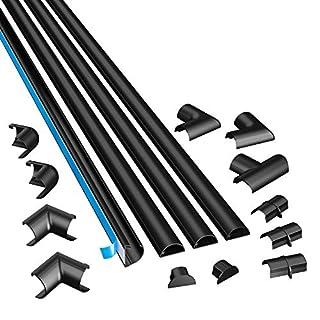 D-Line 3015KIT002 Selbstklebender, Runder Schwarzer Kabelkanal, 30x15 mm, 4 x 1 m Länge, 4 Stück
