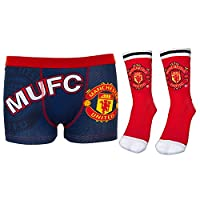 Manchester United FC Gift Set Boys Red Socks & Boxer Shorts Navy 11-12 Years