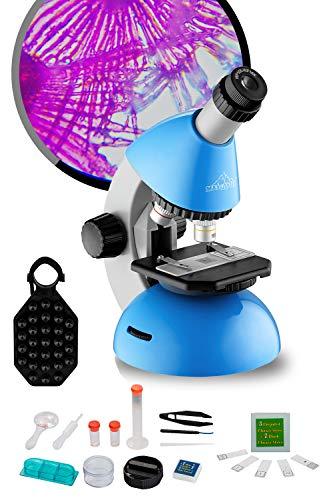 40x-640x Mikroskop für Kinder ab 5-10 Jahre mit Mikroskop Objektträger Scheiben Zubehör Set, Telefon Adapter, Hand-tragbar, für Anfänger in STEM Wissenschaft Familienbildung MAXLAPTER