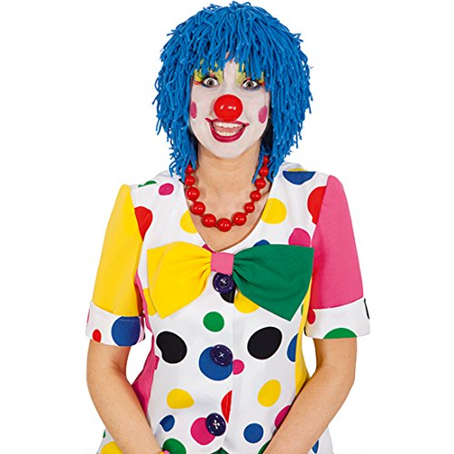 NET TOYS Clown Perücke Clownperücke blau Clownsperücke Clowns Haare Harlekin Faschingsperücke Wollhaare Karneval Karnevalskostüme Accessoires