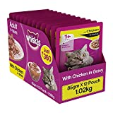 #6: Whiskas Wet Cat Food, Chicken in Gravy for Adult Cats, 85 g (Pack of 12)