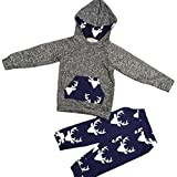 Kingko® Toddler Kids Baby Boy Girl Clothes Deer Hooded Tops Hoodies Jacket +Pants Outfits (18 months)