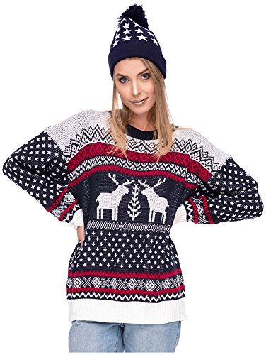 Damen Sweater Sweatshirt Pullover Merry Christmas Rentier Weihnachten Pulli Elf (OneSize, Rentiere Schwarz)