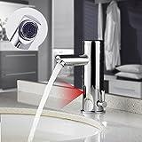 Auralum Infrarot Sensor Wasserhahn Einhebel Automatische Waschtischarmatur Kalt-Warmwasser für Bad Waschbecken