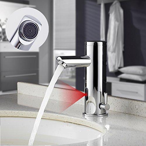 Auralum Verchromter Wasserhahn mit Infrarot Sensor fürs Bad   Mischbatterie mit Sensor fürs Waschbecken   Waschbeckenarmatur mit Sensor fürs Badezimmer
