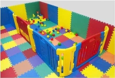Cannons UK Outdoor/Indoor Protective Flooring Mats Interlocking Floor Matting Gym ,Baby Play Area, Exercise, Yoga - 12 tiles (48sqft) - inexpensive UK light store.