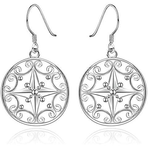 Alimab Gioielli Placcato in oro donne Goccia Orecchini croce argento orecchini rotondi