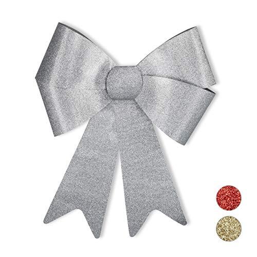 Relaxdays XL Riesenschleife, Dekoschleife für große Geschenke, Glitzer Dekoration, als Hochzeitsdeko o. Autoschleife, Silber, PVC