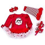 AOLVO First 2nd Birthday Vestiti per, per Bambine, Natale Vestiti per Bambino Neonato, Baby-Tutina Gonna tutù Set i Regali di Natale, Red, 6-12 m