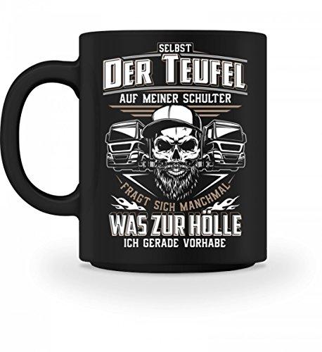 Shirtee Hochwertige Tasse - Trucker LKW-Fahrer Fernfahrer Teufel Brummifahrer Geschenk