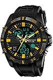 Sanda Digital Analog Watch Military Sport Outdoor Big Face Black Mens Wrist Watches Gold