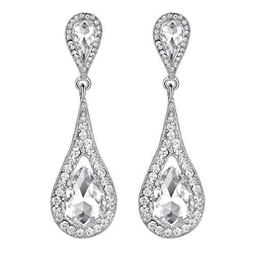 Mecresh orecchini pendenti a goccia, in cristallo trasparente e champagne, per feste o matrimoni e base metal, colore: a-clear, cod. eh246-clear