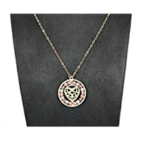 Pure Gold 18K Necklace With Heart Pendant & Color zircon balls