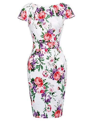 Belle Poque Robe Crayon Femme Chic Année 50 Floral à Manche Courte en V-Dos M BP305-4