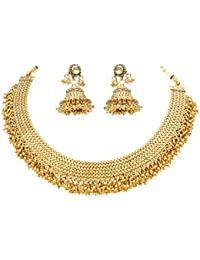 Sanara Collection Traditional Indain Gold Tone Gold Beads Necklace Set For Women Jewelry