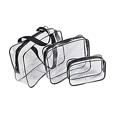 Galwad ®3 Pack Clear PVC Vinyl Zippered Luggage Toiletry Carry Pouch Travel Cosmetic Makeup Bag Clear Bag (Clear/Black) - inexpensive UK light store.
