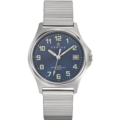 Certus 615824–Watch Men–Quartz–Analogue Blue Dial Silver Steel Strap