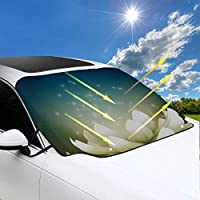 SHAOKAO Sun Shade Visor Shield Cover Beautiful Magical Magic Lotus Car Window Shade Suv 57.9x46.5 Inch(147cmx118cm) for Most Vehicles By Protect The Windshield And Wiper From Sun,ice,snow,frost