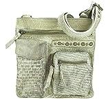 Sunsa Damen Leder Tasche kleine Umhängetasche Schultertasche Mini Handtasche Vintage Retro Design Ledertasche hochwertige Crossbody Used Look Einzelstück Damentasche Frauentasche mit Reißverschluss