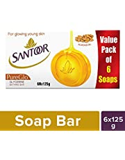 Santoor Pureglo Glycerine Soap, 125g (Pack Of 6)