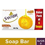 Santoor Pureglo Glycerine Soap, 125g (Pack Of 6)