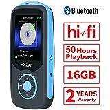 Puersit 16GB Bluethooth Reproductor de Música Digital MP3 con 50 horas de Reproducción, Soporta hasta 64GB, HiFi, Radio FM y Audio Libro con Funciones de Marcador Disponible (Azul)