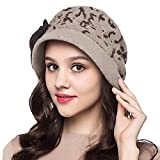 MaitoseTM Frauen dekorative Schleife Strickwolle Bucket Hat Khaki