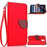 WEIFA LG Spirit/Escape 2 H445 Case, Very Light Slim Natural Leaf Lid Deisgn Bling Soft Wallet Card Slots Cover, 2018 Newest Super Cool Thin Anti-Scratch Protection Cellphone Case for LG Spirit Red