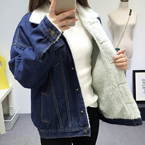 Jeansjacke Damen mit Fell Denim Lamm-Plüsch Jacket Trucker Jacke Mantel  Übergangsjacke Outwear Blau S. Previous Next 88dabfae81