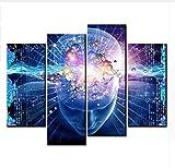 LJLSLH Stampe E Quadri su Tela 4 Pannello Elettronico Astratto Muro del Cervello Pittura su Tela Foto Home Decor Taglia 1 (Senza Cornice)