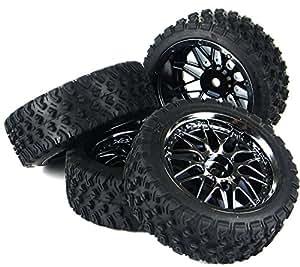 NuoYa005 NOUVEAU 01:10 Rallye Pneus roue 12mm Rim Hex Pour HSP HPI RC Car 11087 Set de 4 (Inclure une bande réfléchissante à vélo comme cadea)