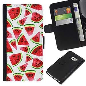 iBinBang / Prämie Schwarz Flip Brief Tasche Klapp Leder Kartenhalter Schutz Hülle Case Cover - Wasserfarbe Weiß - Samsung Galaxy S6 EDGE SM-G925